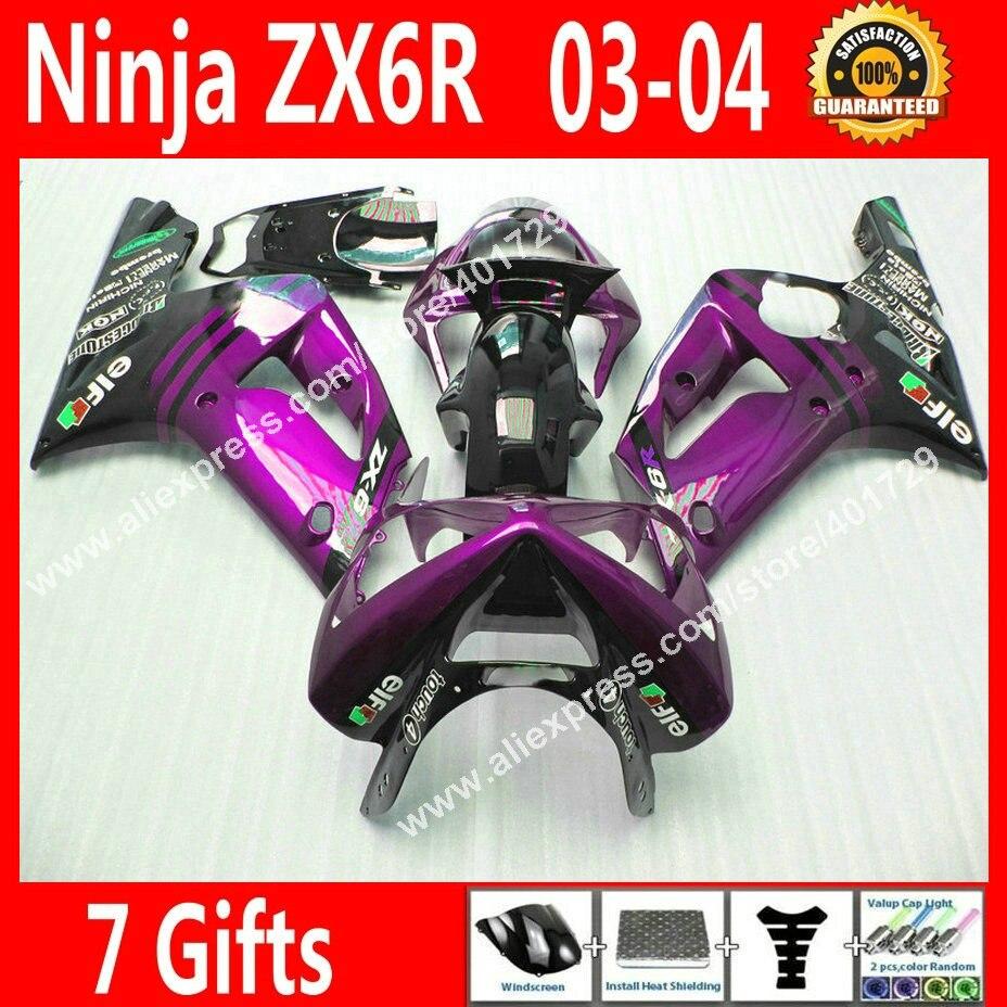 Бесплатные заказ Зализы для мотоцикла Kawasaki Ninja ZX 6R 636 2003 2004 ZX6R 03 красочные кузов обтекателя BG67