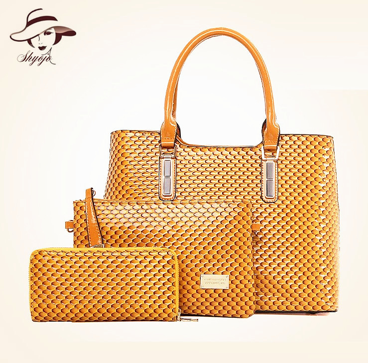 New Snake Skin Patent Leather 3PCS Set Composite Girls Handbag High Quality Women Female Messenger Bags And Wallet Clutch Tote