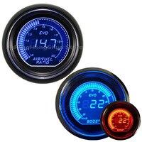 2 inch 52mm Car Turbo Boost Vacuum Gauge Psi + Air Fuel Level Ratio Meter Blue Red LED Light 12V Tint Lens Auto Digital Gauges