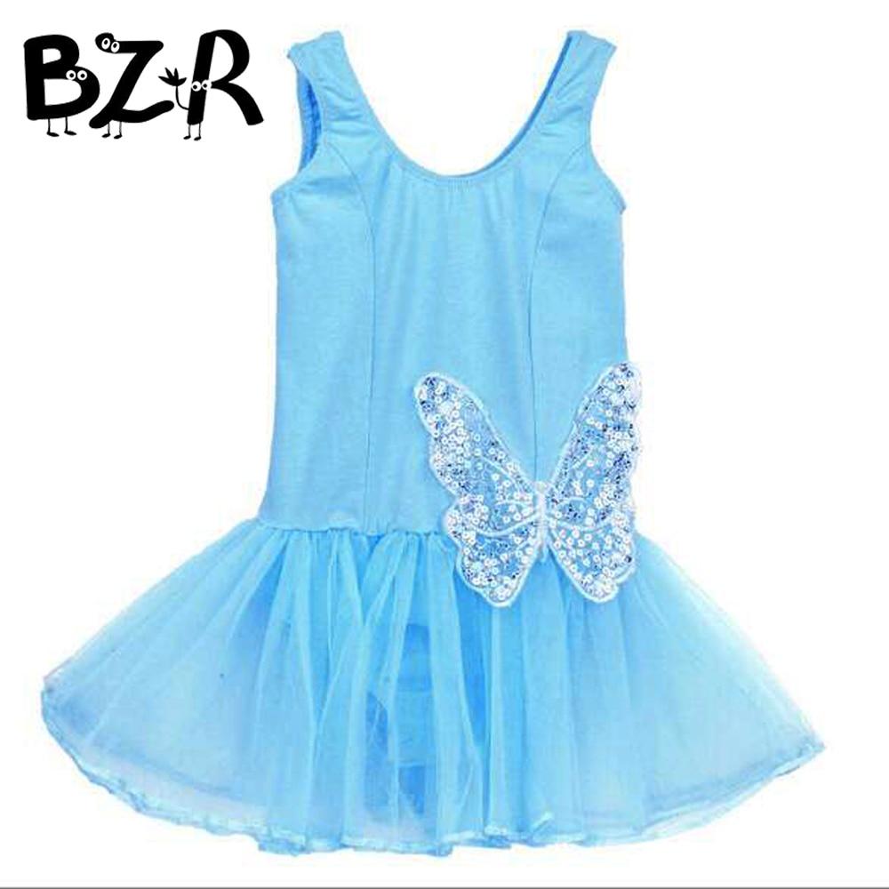 Children Kids Cotton Sequin Butterfly Professional Ballet Tutu Gymnastics Leotard Girl Dance Costume Vest Baby Tutu Dress