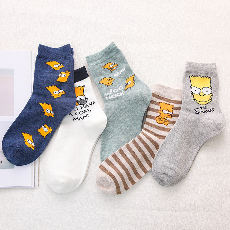IOLPR   socks   Women Cotton   Socks   Simpsons Family Novelty Cute   Socks   New Print Funny Fashion Casual Harajuku Happy   Socks   women