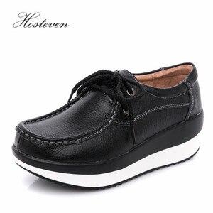 Image 5 - Hosteven נשים נעלי בלט נעל פרה זמש עור שטוח פלטפורמת אישה נעלי נשי נשים של נעלי מוקסינים נעל