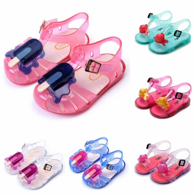 Baby Children's Mini Sandals Brand New Girls Sticks Jelly Shoes Baby Pvc Sandals Children's Beach Shoes Non-slip Toddler Shoes