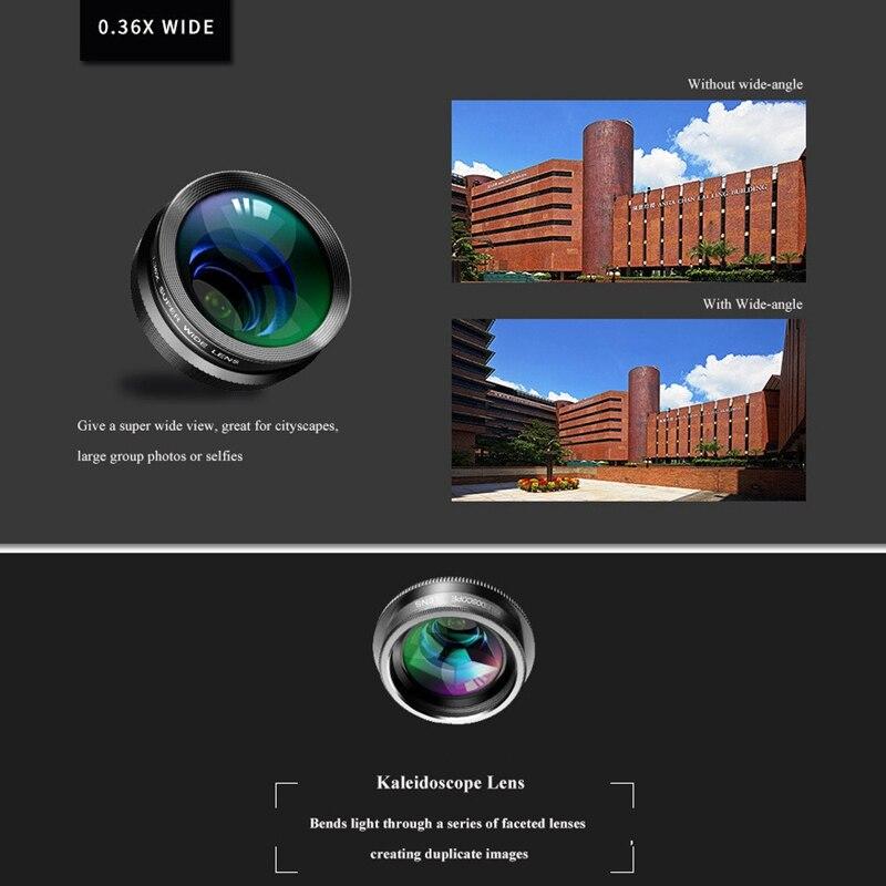 Image 5 - Объектив камеры телефона, 7 в 1 Объективы для телефона Комплект для Iphone и Android, рыбий глаз Широкоугольный макро объектив круговой поляризационный фильтр калейдоскоп и 2X Te-in Объектив фотокамеры from Бытовая электроника
