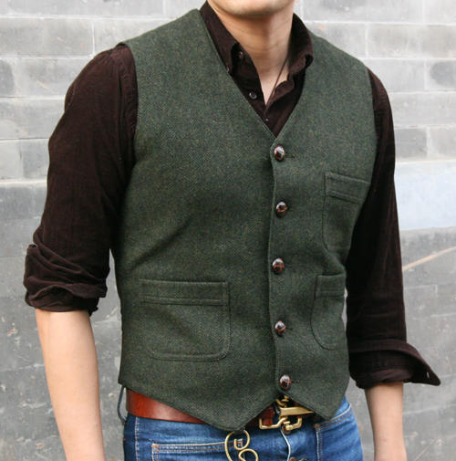 Vintage Harris Tweed Style Vest , Overall Work Wool Vest
