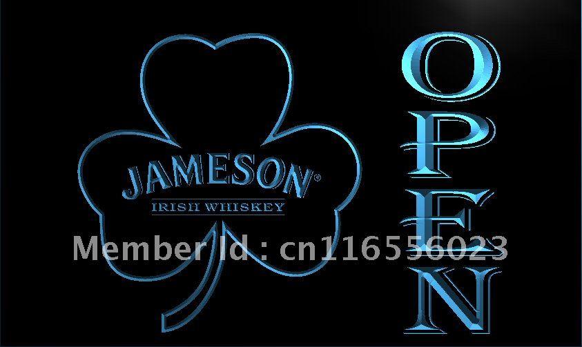 LA074 Jameson Whiskey Shamrock OPEN Bar LED Neon Light