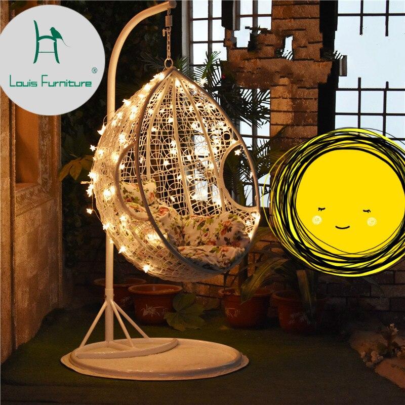 Louis moda Patio columpios silla colgante cesta interior balcón sala de estar hamaca adulto nido individual sofá patata