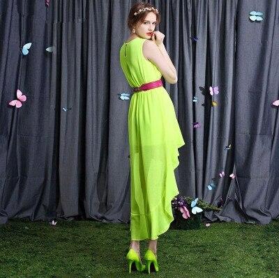 2020 vestido de festa, femmes sexy asymétrique robe en mousseline de soie, fille décontracté robe verte fluorescente, grande taille S - 5XL vêtements bon marché