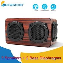 цена на Wooden Bluetooth Speaker HIFI Wireless Dual Loudspeakers 3D Bass Surround Speaker with Karaoke function Hands free call FM radio