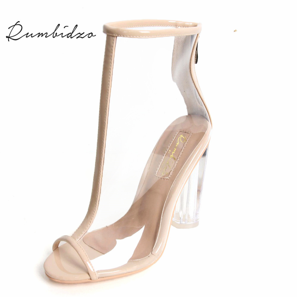 Rumbidzo <font><b>2018</b></font> <font><b>Sexy</b></font> Women <font><b>Sandals</b></font> PVC Transparent High Heels Gladiator Peep Toe Shoes Clear Chunky Heels Women Sandalias image