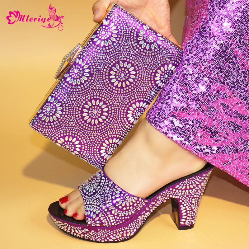 New Ladies Italian Shoes and Bag Set Decorated with Rhinestone Shoe and Bag Set for Party In Women Womens Dress purple Shoes