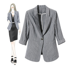 Unique Design Boutique Womens Clothes New Style Slim Fashion Stripe Outerwear Business Blazer Coat 932005