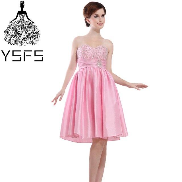 YSFS Hot Einfache Rosa Schatz Taft Short Brautjungfernkleider Perlen ...
