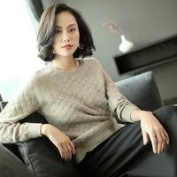 100% кашемировый свитер Для женщин Винтаж Стиль с круглым вырезом одежда с длинным рукавом 4 цвета женские Повседневное основные пуловеры три