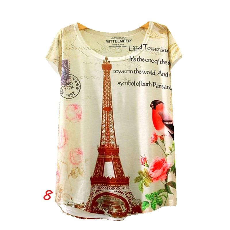 T-shirt de verano animal cat imprimir o-cuello de la camisa de manga corta de la