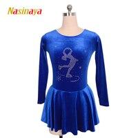 Nasinaya الجليد اللباس مسابقة مخصصة الجليد التزلج تنورة لل فتاة النساء الاطفال patinaje الجمباز الأداء 8