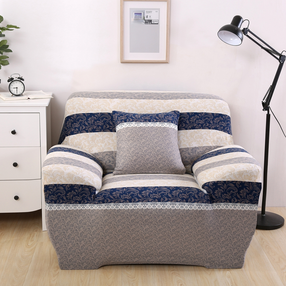 Blue And Grey Stripes Couch/Coner Sofa Slipcovers Sofa Cover Elastic  Universal Multi Size