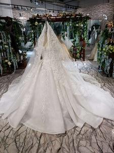 Image 4 - HTL187G פשוט חתונה שמלות ארוך שרוול בעבודת יד פרחי אפליקציות גדול o צוואר שמלת כלה 2020 אופנה חדשה vestido דה noiva