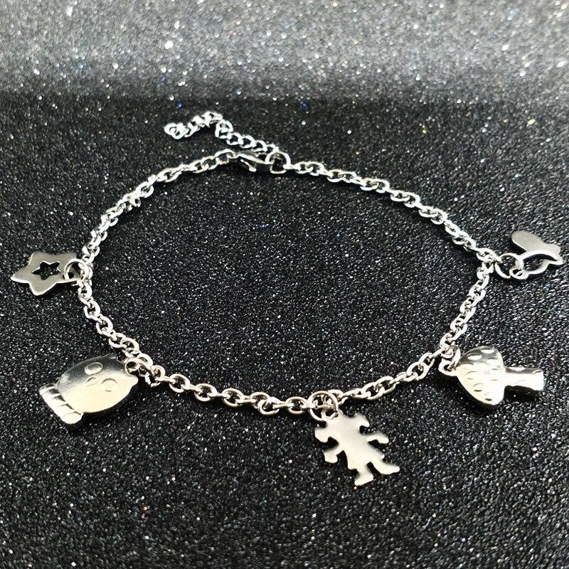 67483196cc9 Acier inoxydable Mignon Fille bracelets de Cheville Pied Bracelet Argent Chaîne  de Pied Plage Bijoux Pour Femmes Cadeau pulseras cheville ne la mujer ...