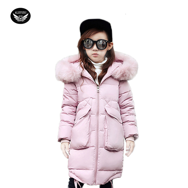 Girls Winter Jackets Children Warming Long Fashion Parkas Thick Coat Cotton Cap Fur Hooded Outwear Kids Outdoor Clothing 2017 kids jacket winter for girl and coats duck down girls fluffy fur hooded jackets waterproof outwear parkas coat windproof