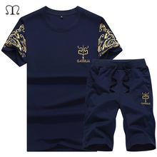 ФОТО 2018 spring sets men tracksuit new trending style clothing summer short sleeve tops & shorts two pieces sportswear clothes