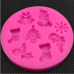 Image 3 - Pupazzo di Neve di natale a Forma di silicone del fondente della muffa della cucina di cottura cioccolato pasticceria della caramella di Argilla rendendo cupcake strumenti di decorazione FT 0130