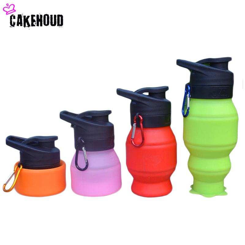 CAKEHOUD 530ML Creative Folding Bottles Water Bottle Foldable Silicone Outdoors Traveling Sport Cycling Kettle Drinkware