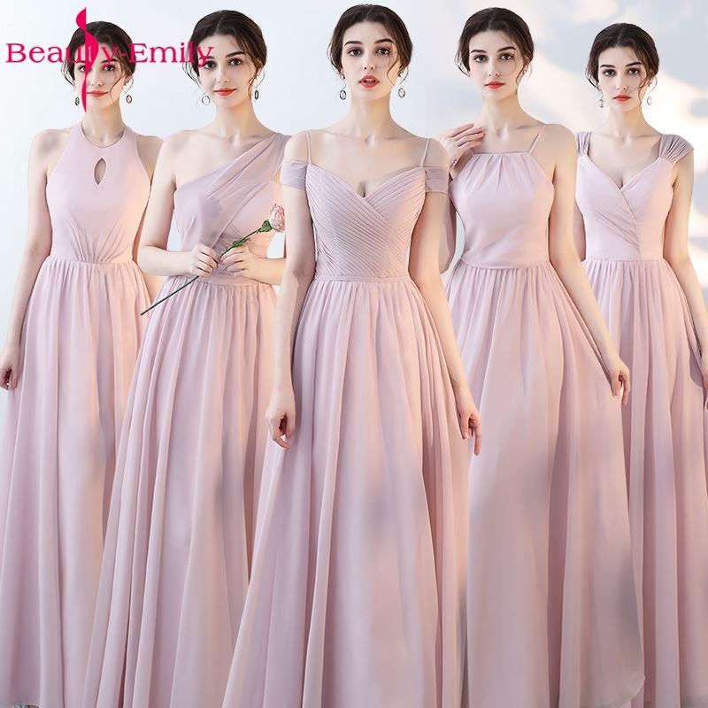 Beauty Emily Pink Blue A line Chiffon Bridesmaid Dresses 2019 Wedding Party Girl Prom Dresses Vestido