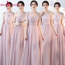 hot deal buy beauty emily pink blue a line chiffon bridesmaid dresses 2018 wedding party girl prom dresses vestido de festa party dresses