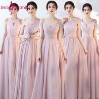 Beauty Emily Pink Blue A line Chiffon Bridesmaid Dresses 2018 Wedding Party Girl Prom Dresses Vestido De Festa Party Dresses