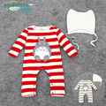 2016 Peninsula baby stripe printed long sleeved Jumpsuit Romper chinchilla baby infant climb clothes clothes sale
