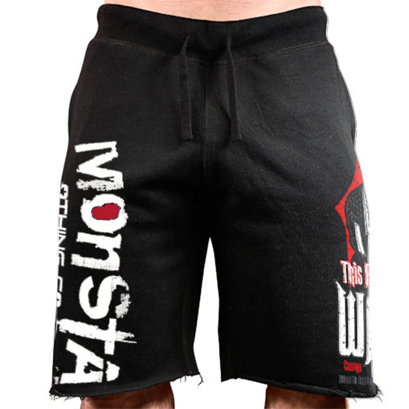 2019 New Cotton Shorts Men Loose Short Trousers Fitness Bodybuilding Jogger Mens Brand Durable Sweatpants Fitness Workout Short