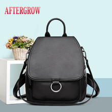 Fashion Soft Leather Female Backpack Famous Brands Women Bags Designer 2019 Waterproof Travel Backpacks Casual Girl Shoulder Bag