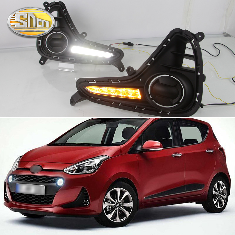 For Hyundai Grand I10 2017 2018 Yellow Turning Signal Relay Waterproof ABS Car DRL 12V LED Daytime Running Light Daylight SNCN white yellow turning function abs cover 12v car drl led daytime running light daylight lamp for chevrolet cruze 2016 2017 drl