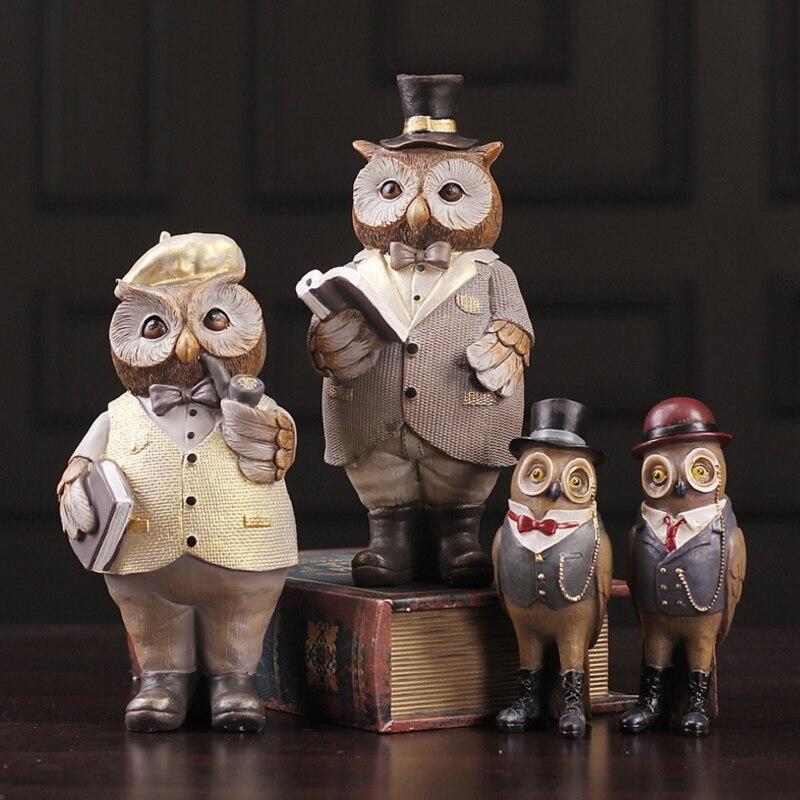 Style de Village américain dessin animé hibou Artesanato créatif Kawaii résine décoration cadeau personnes Imitation hibou ornements Figurine
