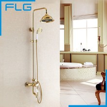 Free Shipping NEW Luxury Tub & Shower Faucet Set Single Handle 8 Rain Shower Head With Slide Bar Gold Finished Mixer Tap mixer fader slide potentiometers single 8 8 cm a10k union