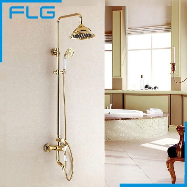 Free Shipping New Luxury Tub Shower Faucet Set Single Handle 8 Rain Head