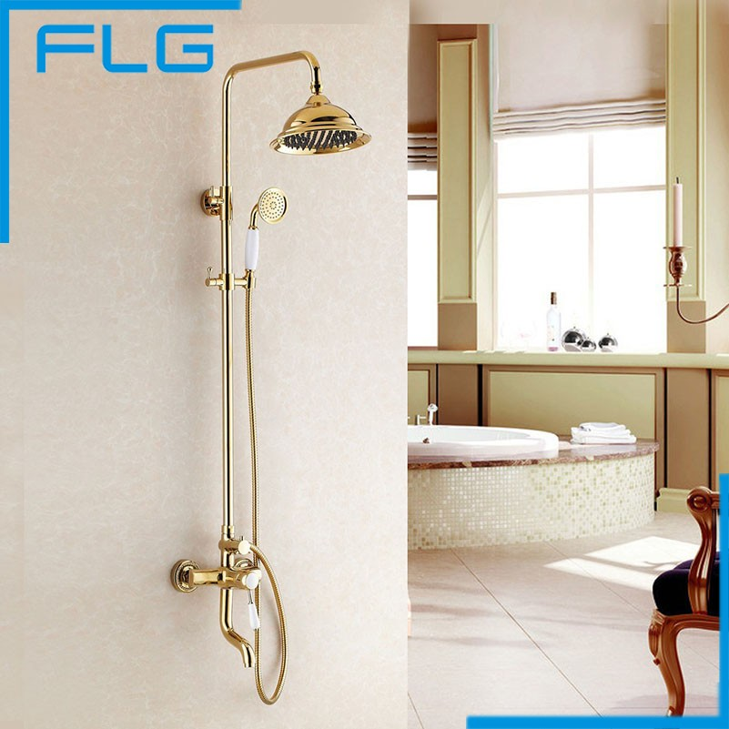 Free Shipping NEW Luxury Tub & Shower Faucet Set Single Handle 8 Rain Shower Head With Slide Bar Gold Finished Mixer Tap