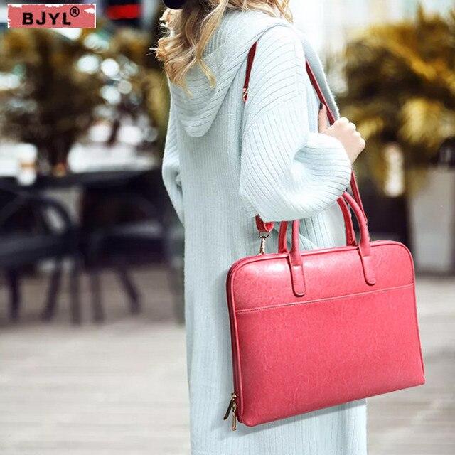 BJYL женские сумки женские 14 дюймов Сумка для ноутбука Роскошные модные женские официальные деловые портфели кожаные сумки через плечо