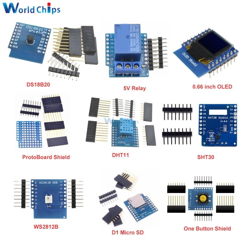 DIY Kit 0.66'' OLED Button Motor Driver Micro SD/TF SHT30 Proto Board ESP8266 D1 Mini Pro WiFi Development NodeMcu For WeMos D1