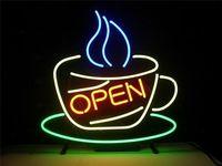 Comparar Barra de cerveza de luz de neón de cristal de café abierto