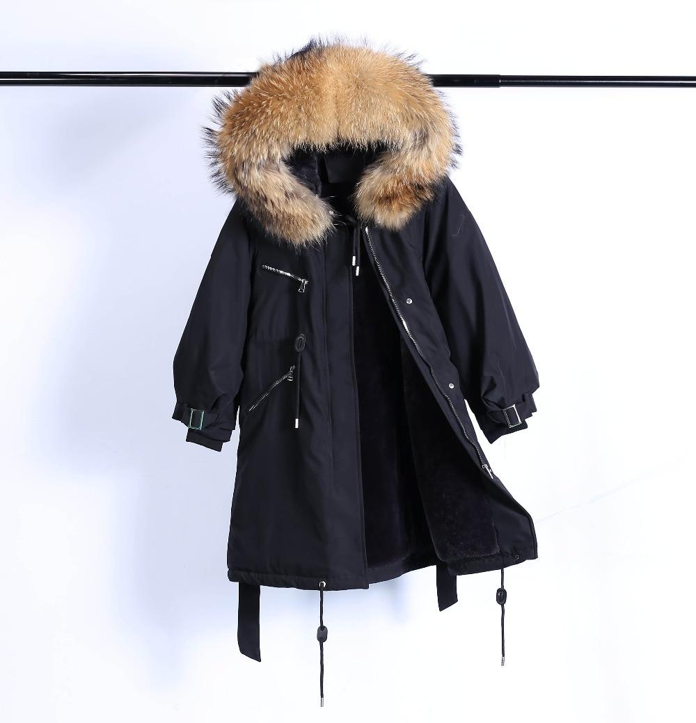 Large Natural Raccoon Fur Winter Jacket Women Hooded 19 Long Parkas For Female Thick Slim Down Winter Coat Women Waterproof 35
