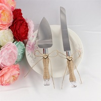 Hot Selling 3 Designs Personalized Jute Burlap Wedding Cake Knife And Serving Set For Wedding Decoration