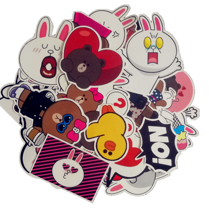 32Pcs/Lot Line Town Brown Bunny Cony PVC Waterproof Stickers For Luggage Wall Car Laptop Bicycle Motorcycle Laptop Cute Toys F432Pcs/Lot Line Town Brown Bunny Cony PVC Waterproof Stickers For Luggage Wall Car Laptop Bicycle Motorcycle Laptop Cute Toys F4