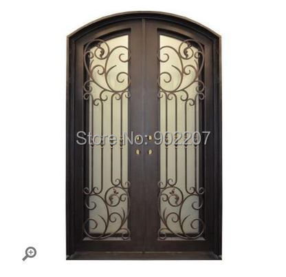 Exterior  Wood Door With Wrought Iron