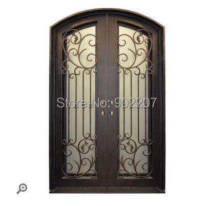 Exterior  Wood Door With Wrought Iron