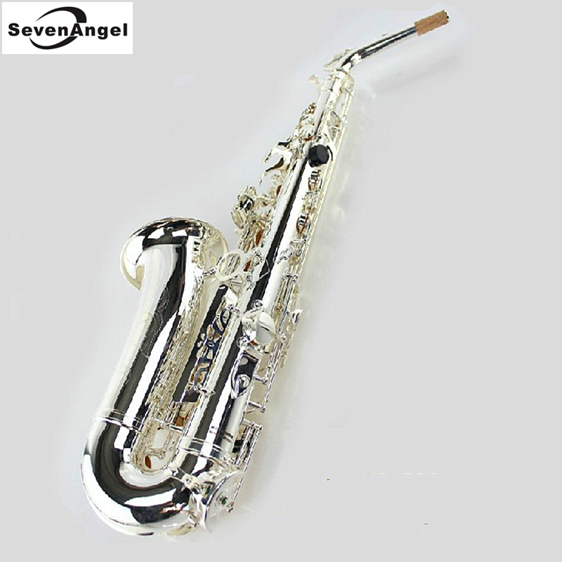Saxophone alto Eb Pure Silver Surface Wind Instrument Sax Western Instruments saxofone alto Eb Professional Musical Instrument alto saxophone 54 eb flat alto sax top musical instrument sax wear resistant black nickel plated gold process sax