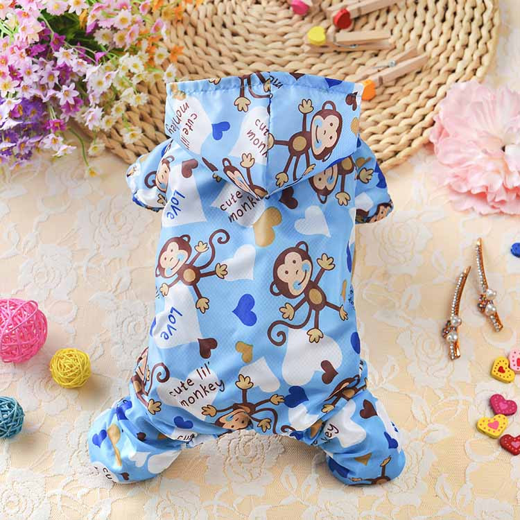 Fashion Monkey Printed Dog Raincoat Acrylic Puppy Pet Waterproof Coat with Hooded Mesh Pet Clothes for Small Dogs Cats, XS S M L XL4