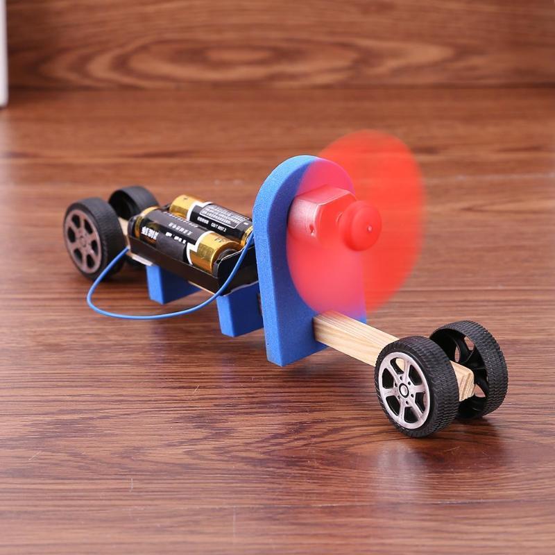 Speed Change Racing Wooden Car Kids DIY Electronic Blocks Assembled Toy Aerodynamic Car Kids Student Science Educational Gift