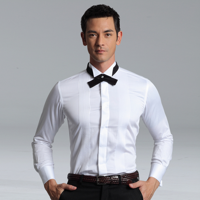 Men's white Tuxedo Shirt,French cufflinks banquet white shirt with Ribbon,120 cotton yarn, 100% quality gurantee, Free Shipping